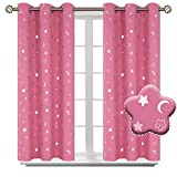 BGment Moon and Stars Blackout Curtains for Girls Bedroom, Grommet Thermal Insulated Room Darkening Printed Kids Curtains, 2 Panels of 42 x 45 Inch, Pink