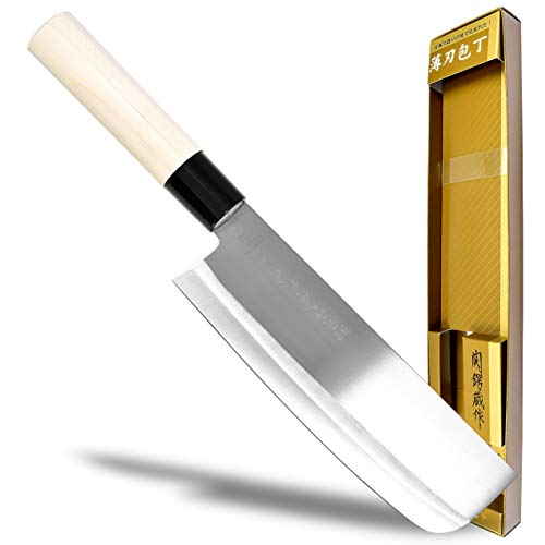 Seki Japan TSUBAZO Japanese Vegetable Kitchen Knife, Stainless Steel Nakiri Knife, Shiraki Handle, 170 mm (6.7 in)