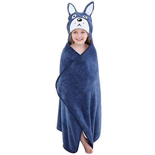 COOKY.D - Asciugamani da bagno con cappuccio accappatoio, per bambini e bambine, regalo perfetto per la doccia del bambino, 0-7 anni, blu, Taglia unica
