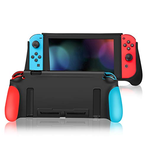 Dockable Case for Switch, Silicone Grip Protective Cover Case for Switch,Shock-Absorption and Anti-Scratch Soft TPU (Small, Red and Blue)