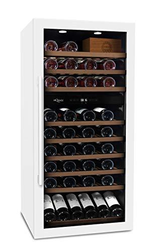 mQuvee Weinkühlschrank Freistehend WineServe 89 Weiß, Platz für bis zu 87 Flaschen, 2 Temperaturzonen 5-20°C, Höhe 123,5 cm