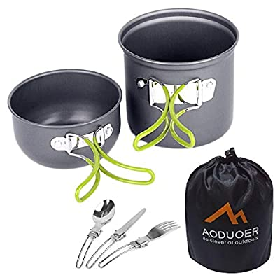 Aoduoer Camping Cookware Mess Kit Cooking Equipment Outdoor Cookset Camp Pot Pan with Mess Bag | Lightweight, Compact, Durable for Backpacking, Hiking and Picnic, 3Piece Set