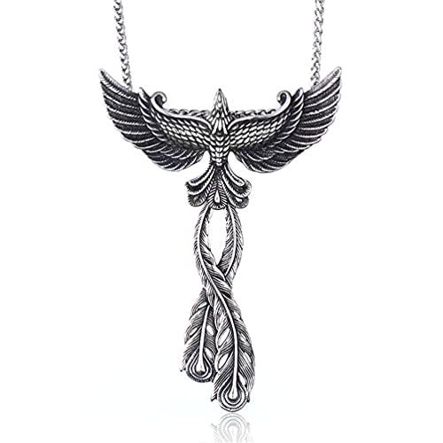 HIJONES Collar con Colgante de Pájaro Fénix Vintage de Acero Inoxidable para Hombre Animal Personalizado Solamente