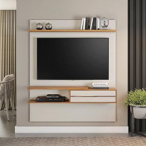 Painel para Tv 55 Polegadas 1,35m Off White/Freijó Trend com Lampada Led