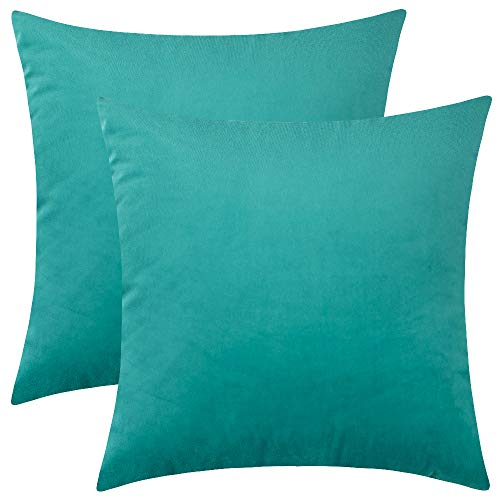 Rythome Set of 2 Kids Comfortable Throw Pillow Cover for Bedding, Decorative Accent Cushion Sham Case for Couch Sofa, Soft Solid Velvet with Zipper Hidden - 12'x12', Dark Cyan