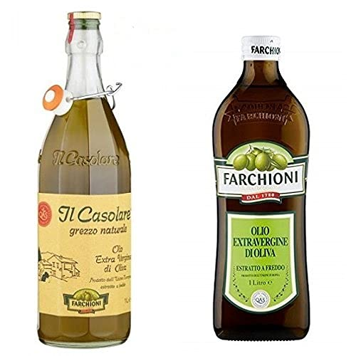 3x Farchioni Il casolare grezzo naturale 1L Extra nativ Natives Olivenöl olio oliva + 1x Farchioni Classico Extra Natives nativ Olive Olivenoel 1 L olio vergine oliva
