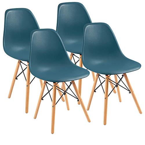 Furmax Pre Assembled Modern Style Dining Chair Mid Century Modern DSW Chair, Shell Lounge Plastic Chair for Kitchen, Dining, Bedroom, Living Room Side Chairs Set of 4(Dark Green)