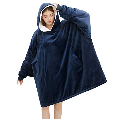 Bertte Blanket Sweatshirt Oversized Hoodie Wearable Sherpa Blanket Sweater for Teens Adults | Super Soft Warm Lightweight Plush Hooded Poncho Pullover with Sleeves and Pocket, One Size Fits All, Navy