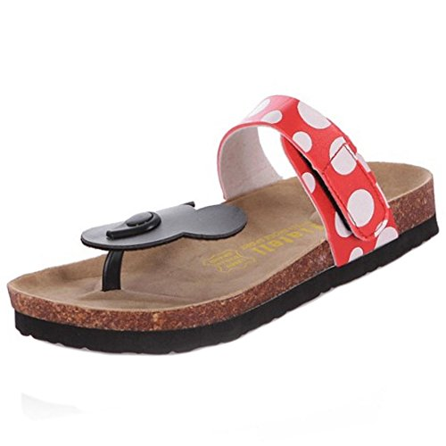 Zanpa Damen Sweet Strandsandalen Flat Sommerschuhe Cartoon Shoes Rutschen Sandalen Flip Flop Sandals Clip Toe Slip On Flach Floral Red Gr 39