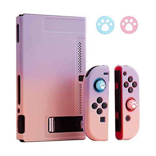 Dockable Case for Nintendo Switch, Protective Case Cover for Joy-Con Controllers with 2 Thumb Grips, Hard Separable Colorful Cover for Nintendo Switch (Purple+Pink)