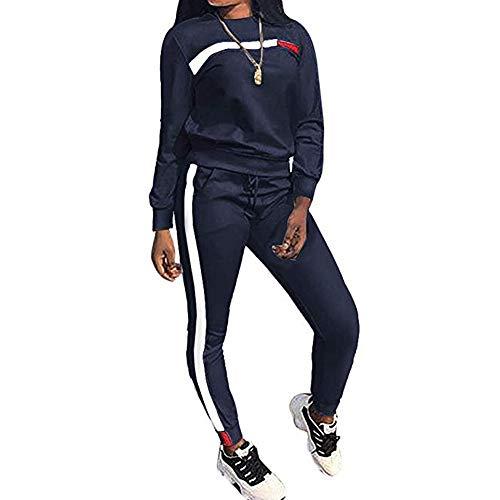 Sfit Damen Jogginganzug Sportanzug Traingsanzug Frauen 2 Stücke Set Outfit Langarm Pullover Sweatshirt + Sporthosen Kontrastfarbe Sport Casual Jogging Running