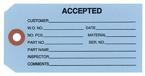 G20011 13 Point Cardstock Blue Accepted Inventory Tags - 4-3/4