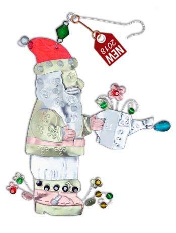 Bulldog Depot BD Holiday Collection- Santa Garden Gnome Metal Holiday Ornament