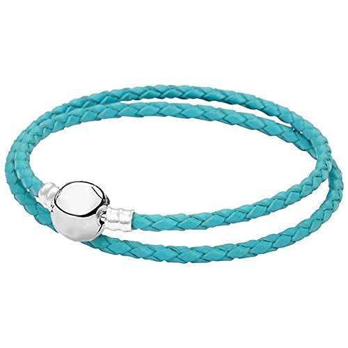 Pulsera ZIYUYANG, pulsera de cuero genuino con hebilla redonda, joyería de plata esterlina, pavo real, azul
