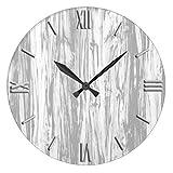 Irinay Reloj De Pared Aspecto Antiguo Casual De Chic Madera para El Dormitorio Driftwood Gris Y 30 5 Cm Reloj De Pared Diseño Antiguo De Época Estilo Moderno De Sala De Estar