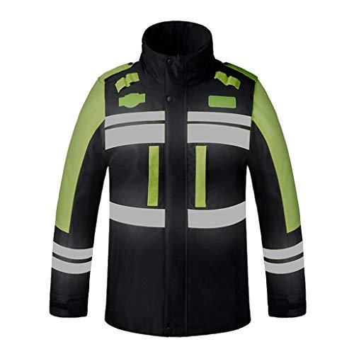 Warnweste Warnweste for Warnkleidung Verkehrssicherheit Warnweste for Warnkleidung Warme Baumwolle im Winter Reflektierende Weste (Color : Black, Größe : XL)