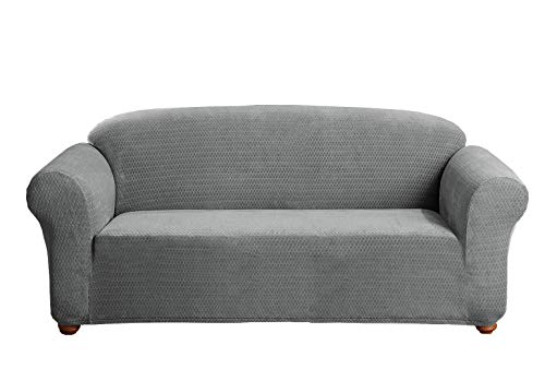 Linen Store Sicily Furniture Slipcover, 1-Piece Form Fit Soft Stretch Fabric Jacquard Couch Cover, Grey, Sofa