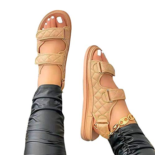 Henreal Frauen Peep Toe PU Flache Sandalen mit Klebeband Atmungsaktive Casual Wedges Hausschuhe Schuhe Simple Style Soft Sole für Mädchen