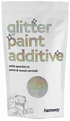Hemway (Silver & Gold Holographic) Glitter Paint Additive Crystals 100g/3.5oz for Acrylic Latex Emulsion Paint - Interior Exterior Wall, Ceiling, Wood, Varnish, Dead flat, Matte, Gloss, Satin, Silk