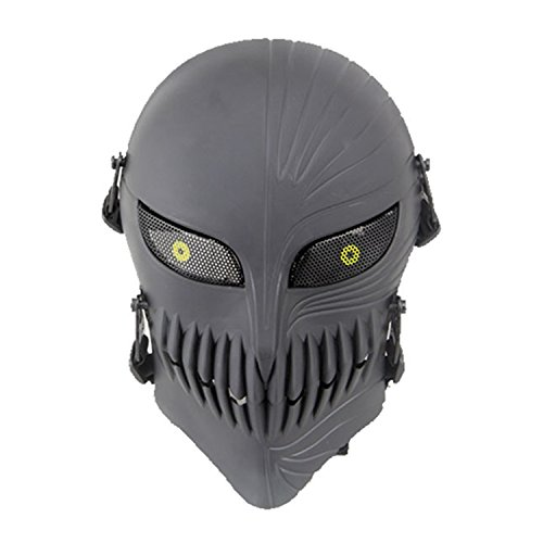 Máscara táctica completa haoYK, para airsoft y paintball, diseño de calavera, máscara para fiesta de Halloween, negro