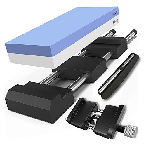 Exanko Whetstone Knife Sharpening Stone Set for Knives Complete with Honing Guide, Premium Holder Base and Angle Tool