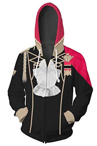 BEDJIMI Fire Emblem Three Houses Cosplay Hoodie Zip Up Jacket Hooded Sweatshirt Anime Hoodies Halloween Costume Adult Red