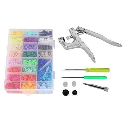 360PCS Juegos de Botones a Presión Snaps Plástico T5 de 1.2cm de 24 Colores+Caja de Almacenamiento de plástico+Herramientas de Pinza de presión