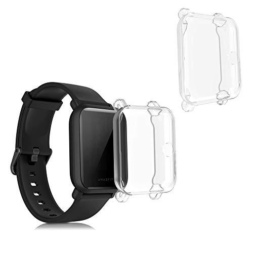 kwmobile 2X Hülle kompatibel mit Huami Amazfit Bip/Bip Lite - Silikon Fullbody Cover Case Schutzhülle Set Transparent