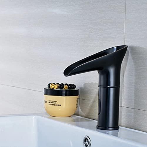 FGHHT Sensor de cambio de color LED de bronce frotado con aceite Grifo de baño Grifo del fregadero Solo agua fría