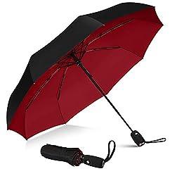 top 10 davek solo umbrella Teflon-coated windproof travel umbrella that repels umbrellas (black red)