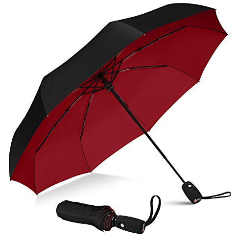 Repel Umbrella Windproof Travel Umbrella with Teflon Coating (Black Red)