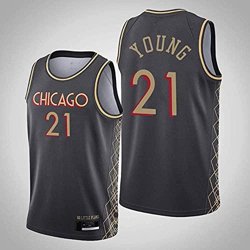 Ropa Jersey de baloncesto para hombres, Chicago Bulls # 21 Thaddeus joven NBA Transpirable y de secado rápido Camiseta sin mangas Camiseta deportiva Top Baloncesto Uniforme, Negro, M (170 ~ 175 cm)