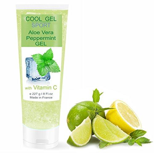 Gel de Aloe Vera Refrescante con Menta y Vitamina C - DEPILACIÓN - DEPORTE - Calmante después del Sol/Después de Afeitarse o de Depilarse 227 ml