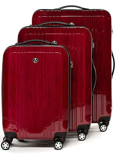 FERGÉ Kofferset Hartschale 3-teilig Cannes Trolley-Set mit Handgepäck 3er Set Hartschalenkoffer Roll-Koffer Reise-Trolley mit 4 Rollen ABS & PC rot