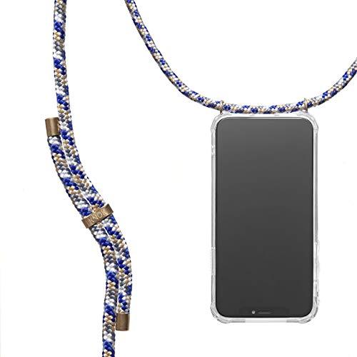KNOK Handykette Kompatibel mitApple iPhone XR- Silikon Hülle mit Band - Handyhülle für Smartphone zum Umhängen - Transparent Case mit Schnur - Schutzhülle mit Kordel in Mountain Blue