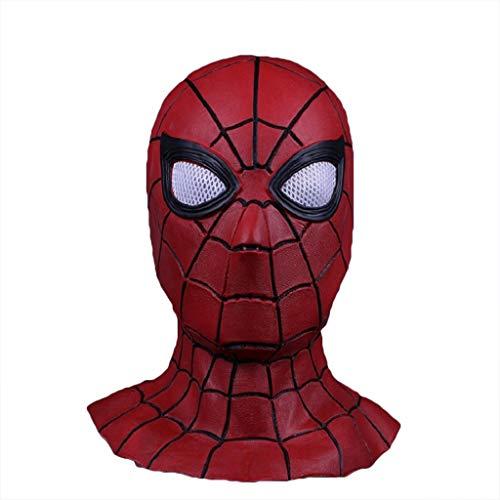 QWEASZER Schwarze Spider-Man Maske Cosplay Maskerade Helm Halloween Maske Erwachsener Spider-Man: Far from Home Maske, Spiderman Hood Helm Comics Hero Kopfbedeckung Kostüm,Red-0cm~60cm