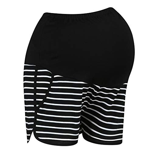 RISTHY Pantalones Cortos Premamá Pantalones de Deporte Rayas Leggings Pantalón de Yoga Pijamas Push Up Elástico Talle Alto para Barriga Mujer Embarazada Maternidad