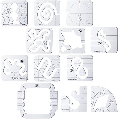 11 Pieces Free-Motion Quilting Template Series 5 Transparent Meander Quilting Template with Quilting Frame for Domestic Sewing Machine Ruler