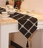 Xiaoxiaoyu La Plata Moderna Europea Side café Mantel Cuadrado de Simple comprobación Tabla de la Manera Corredores de la Tabla può Essere all'ingrosso (Color : Black, Size : 160x32cm)