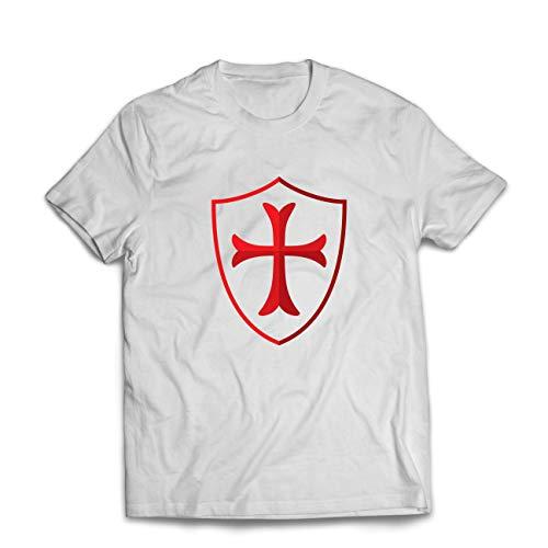 lepni.me Camisetas Hombre Escudo de los Caballeros Templarios, Cruz Roja, Orden de Caballeros Cristianos (Large Blanco Multicolor)