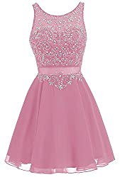 Rose Pink Short Chiffon Dress Rhinestone Beaded Cocktail Gown