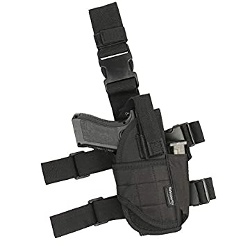 Adjustable Leg Holster Black Tactical Thigh Holster for Pistols with Magazine Pouch