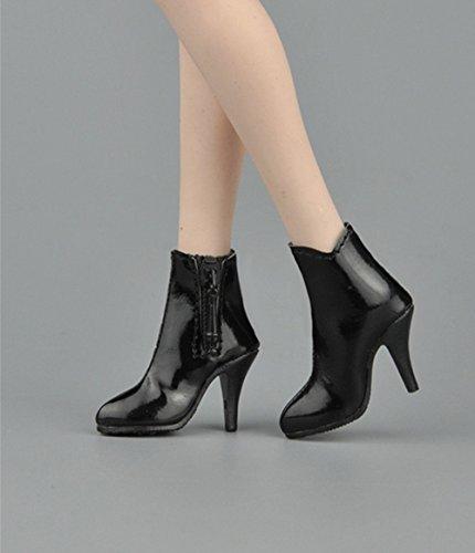 1/6 ショートブーツ フィギュア用 女性 フットパーツなし ドール 人形 アクセサリー 全3色 (黒)