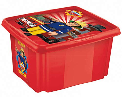 keeeper Caja de almacenamiento con tapa Bombero Sam, Giratoria y apilable, Para niños, 45 l, Paulina, Rojo cereza