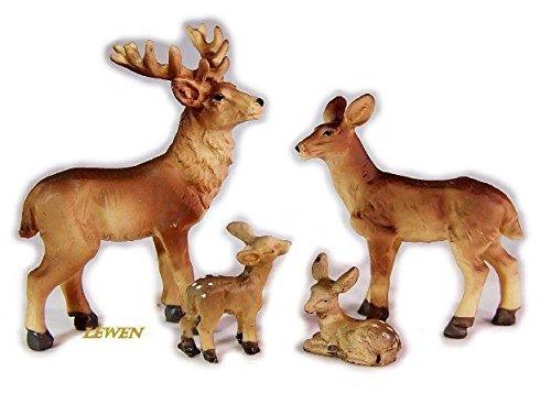 Rehfamilie 4 Teile aus Polyresin, Größe bis 7 cm, Krippenfiguren, Krippentiere