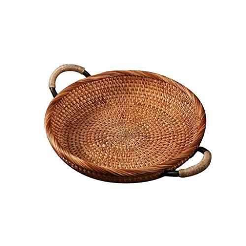 Verakee-Cesta Pan Mimbre, Rattan Ronda Bread Basket, Tejidas Estilo de la Vendimia con la manija, Bandeja Bandeja de café o Mesa de Comedor, para Almacenamiento de Cocina (Color : Wood Color)