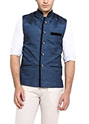 Shaftesbury London Mens Cotton Waistcoat Blue