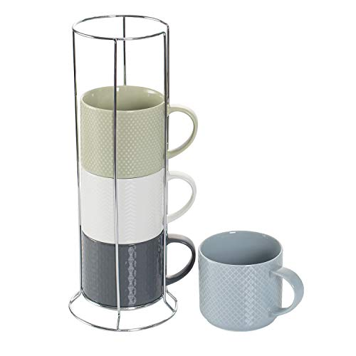 Hasense Stackable Porcelain Coffee Mugs Set of 4 with Metal Stand, 15 Ounce Embossed Cappuccino Cups for Specialty Coffee Drinks and Tea, Multi Color