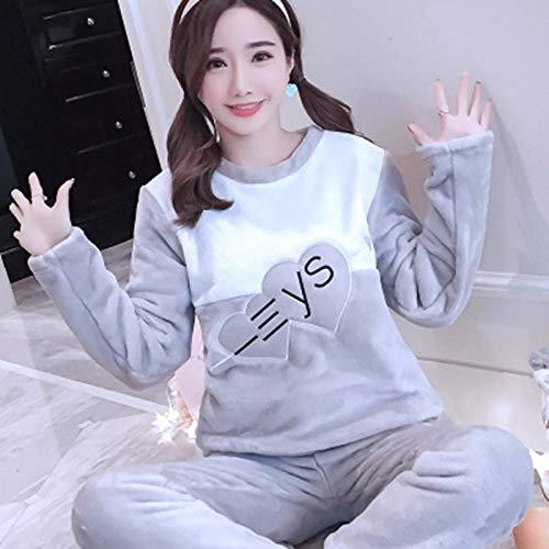 Pijamas Mujer Camisón Conjuntos De Pijamas De Franela Gruesos Y Cálidos para Mujer, Pijama De Terciopelo Coral De Manga Larga De Invierno, Pijama Bonito para El Hogar para Niñas XXL 05