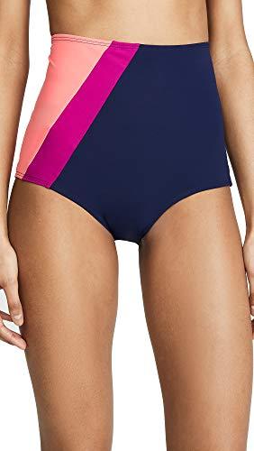 Flagpole Women's Liza Bikini Bottoms, Navy/Flamingo, Blue, Pink, Medium